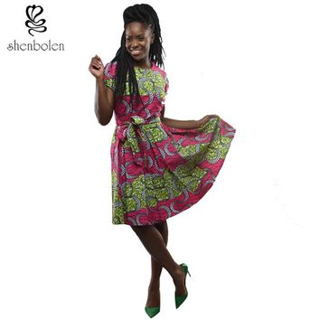 summer african dresses for women short sleeve ankara fabric dress wax printing fashion lady party clothes clothing