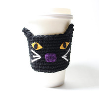 Black Cat Coffee Cozy / Halloween Cup Sleeve / Halloween Crochet Can Cozy