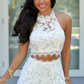 White Floral Eyelash Lace Halter Cropped Top and Shorts