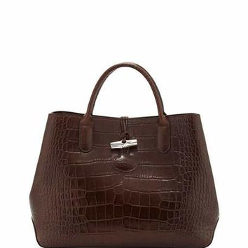Longchamp Roseau Croco Small Tote Bag, Ebony