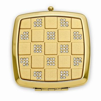 Square Gold-tone Compact Mirror with Stone