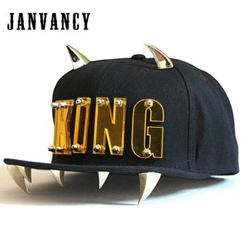 Trendy Winter Jacket Janvancy Punk KING Baseball Caps Men Women Dancing Shows Aike Letter Hip Hop Snapback Flat Bone Hat with Horns AT_92_12