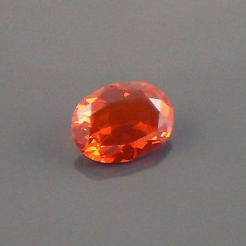 Fire Opal: 1.37ct Red Orange Oval Shape Gemstone, Loose Natural Hand Made Mexican Faceted Precious Gem, OOAK Cut Crystal Jewelry Supply O44