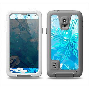 The Winter Abstract Blue Samsung Galaxy S5 LifeProof Fre Case Skin Set