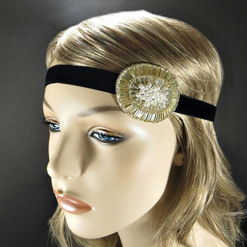 Gold 1920s Headpiece Great Gatsby Headband Downtown Abbey Wedding Party Hair Accessories Beaded Fascinator Flapper Ribbon Headband for Women