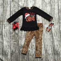 baby girls Christmas outfit girls Santa's favorite diva clothing baby girls boutique party clothes with necklace and bows