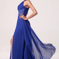 Royal Blue Beaded Harness Cutout Slit Front Maxi Dress