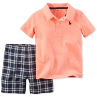 Carter's Baby Boys' 2-Pc. Polo & Plaid Shorts Set | macys.com