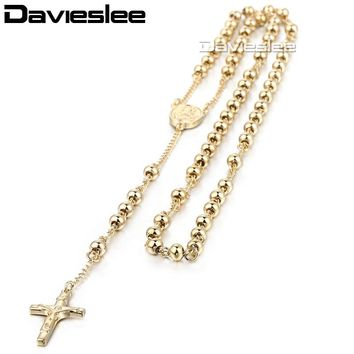 Davieslee Mens Rosary Necklacce Long Bead Chain Crown Jesus Cross Pendant Sliver Gold Tone Stainless Steel 4/6/8/10mm LKN365