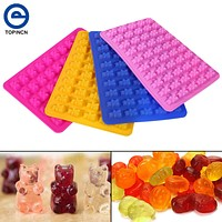 Silicone molds new 50 lattices bear shape DIY chocolate mold ice cube silicone jelly mold Halloween Candy