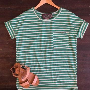 Modern Day Striped Top: Kelly Green and White