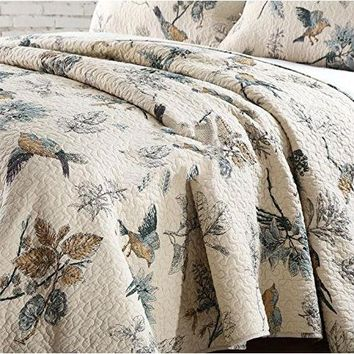 King size 3-Piece Quilt Bedspread Set in 100-Percent Cotton with Floral Birds Pattern