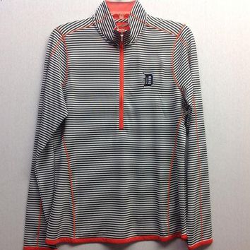 DCCKG8Q MLB Detroit Tigers Women's Trevor Stripe Three Quarter Zip Long Sleeve Pullover