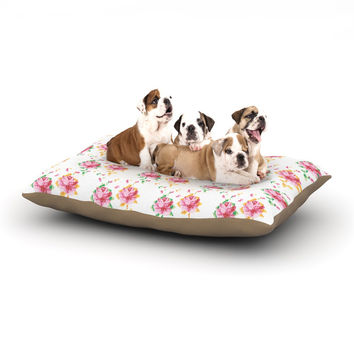 "Laura Escalante ""Cross Stitch Flowers"" White Pink Dog Bed"