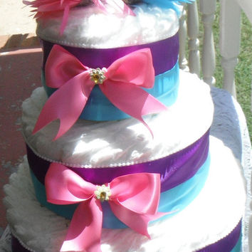 Girls Diaper Cake Pink and Purple and Turquoise Baby Shower Abby Cadabby