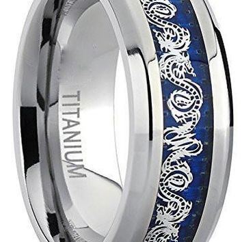 8MM Men's Titanium Wedding Band Ring With Dragon Design Over Blue Carbon Fiber Inlay