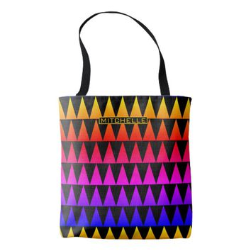 Personalized Rainbow Spikes Tote Bag