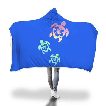 Sea Turtle Hooded Blanket Adult and Youth Sizes Blue Color