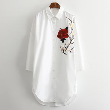 New Fashion Women elegant embroidery Three Quarter sleeves white Shirts Casual Loose Blouses Tops chemise femme blusas S1319