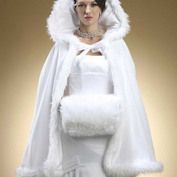 2016 Winter Bridal wrap Hooded with Faux Fur Trim Short for Bride Winter Wedding Cloak Cape white faux fur shawl
