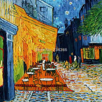 Van Gogh Painting Reproduction - Cafe Terrace At Night Landscape Oil Painting 100% Handmade Wall Arts