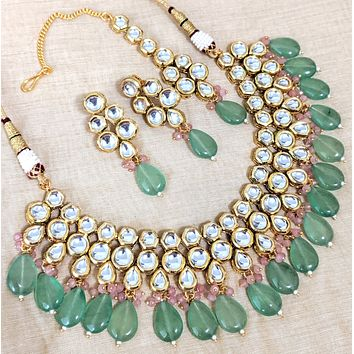 Bold statement kundan stone with crystal bead dangling choker necklace and earring set - With Maang Tikka