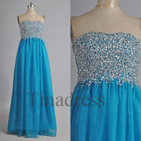 Dark Blue Sequins Beaded Long Prom Dresses Evening Dresses Bridesmaid Dresses Party Dress Evening Gowns Cocktail Dress Homecoming Dress