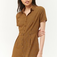 Houndstooth Button-Front Romper