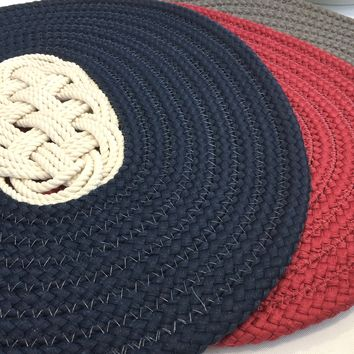 Nautical Ocean Plait Centerpiece, Spiral Rope Mat - 3 Color Choices