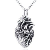 Generic 925 Sterling Silver Retro Anatomical Heart Pendant Necklace Fashion Jewelry for Women,rolo Chain 18""