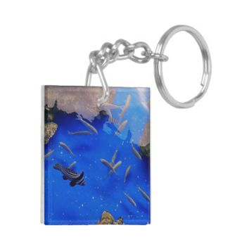 Underwater world clown fish swimming in the sea Double-Sided square acrylic keychain