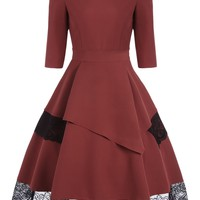 1/2 Sleeve Long Skater Dress with Lace Details