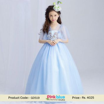 Buy Light Blue Princess Flower Girl Wedding Gown Style Dress Online India
