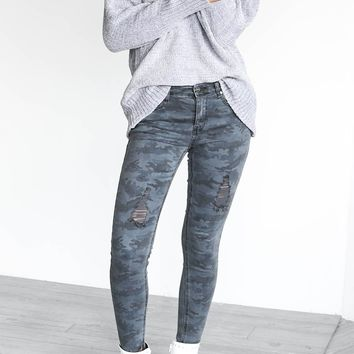 Little Lies Gray Camo Skinny Jeans