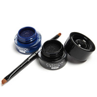 Cosmetic 2 Pcs Blue and Black Waterproof Liquid Eyeliner Gel with Double-End Brush