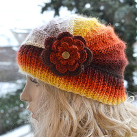 Knitted cap in flower cap / hat lovely warm autumn accessories  women clothing  Knit Hat Womens