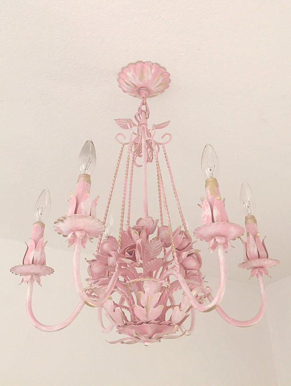 Pink princess girls room chandelier from farmhousefare on etsy for Chandelier light for girls room