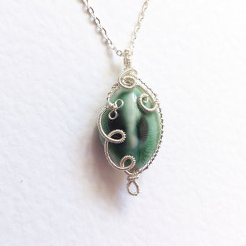 Wire wrapped Pendant,  Porcelain Bead. Wire wrapped handmade Necklace, non tarnish silver plated wire mint green