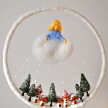 Winter Scene Waldorf inspired Needle felted  children mobile: Mother Holle