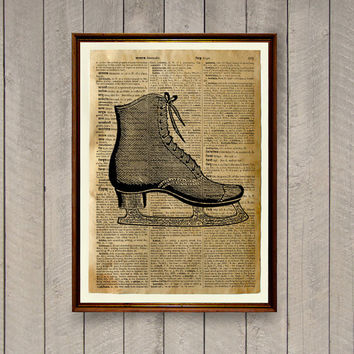 Ice skating poster Sports decor Vintage print WA592