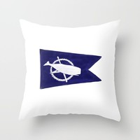 Nantucket Blue and White Sperm Whale Burgee Flag Hand-Painted Throw Pillow by podartist