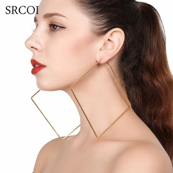 SRCOI Oversize Big Circle Hoop Earring For Women Simple Punk Style Brincos Round Square Earrings Simple Geometric Party Jewelry