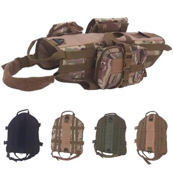 Tactical Dog Vest Harness Military Molle Camouflage Harness For Small Medium Large Dogs Patrol Training Size S M L XL