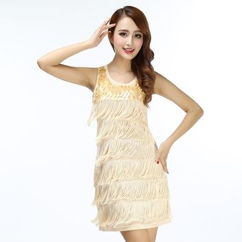 Women Sequin Fringed Sleeveless Solid Color Great Gatsby Flapper Party Dress Summer Casual Mini Sundress Costumes