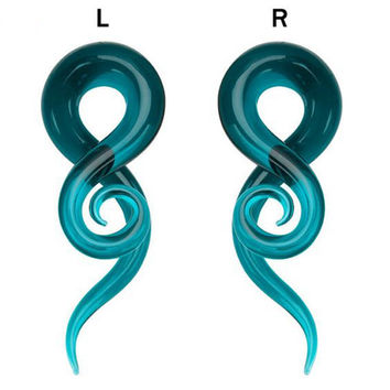 Swan Jo One Pair Pyrex Glass Ear Spiral Taper Gauge Ear Plug Stretching Expander Piercing Glass Gauge Body Jewelry Pircing