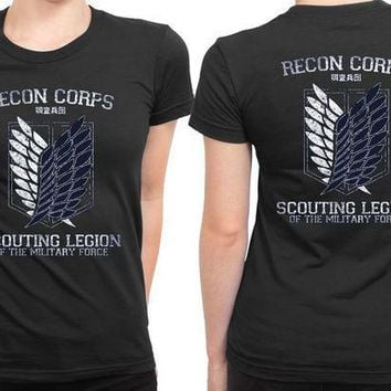 ESBP7V Attack On Titan Recon Corps 2 Sided Womens T Shirt