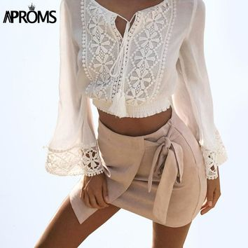 Aproms White Crochet Floral Blouse Women's Long Sleeve Lace Patchwork Tassel Cropped Shirts 90s Beach Casual Crop Top Blusa