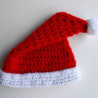 Newborn Santa Claus Hat Red Kris Kringle Baby Christmas Cap White Pom Pom Infant  Crochet  Girl Boy Children Clothing