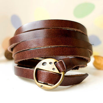 Elegant & Chic Brown Leather Wrap Bracelet