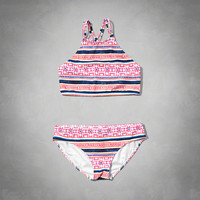 pattern two-piece scuba swimsuit